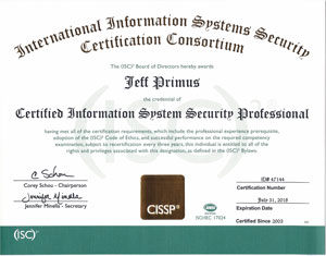 CIISP Certificate Sample