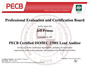 ISO 27001 Lead Auditor Certificate Sample
