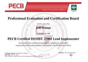 ISO 27001 Lead Implementor Certificate Sample