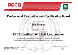 ISO 22301 Lead Auditor Certificate Sample