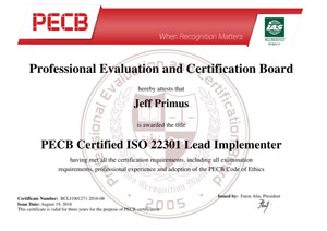 ISO 22301 Lead Implementer Certificate Sample
