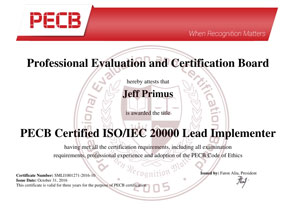 ISO 20000 Lead Implementer Certificate Sample