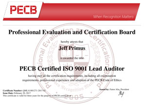 ISO 9001 Lead Auditor Certificate Sample