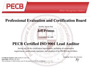 Exemple de Certificat ISO 9001 Lead Auditor