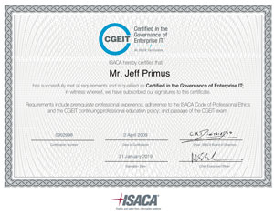 CGEIT Certificate Sample