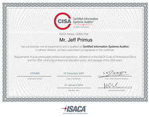 CISA Cetificate Sample