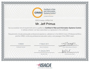 CRISC Certificate Sample