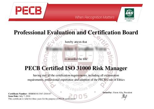 ISO 27005 Risk Manager Certificate Sample