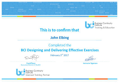 BCI Certificae Sample