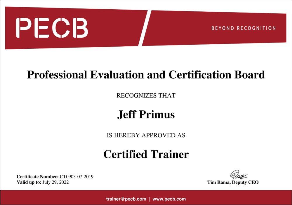 Jeff Primus ACTAGIS PECB Certified Trainer